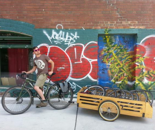 Our bike trailer filled with wheels for a workshop: photo by Lynda Young